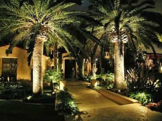 picture of beautiful outdoor landscape lighting at the entranceway of a home in Fort Lauderdale Florida.